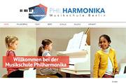 Referenz Website der Musikschule Philharmonika - Internet-Service Berlin - Webdesign, Homepage-Erstellung, Online-Shop-Erstellung